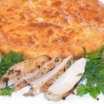 Осетинский пирог с цыпленком и грибами